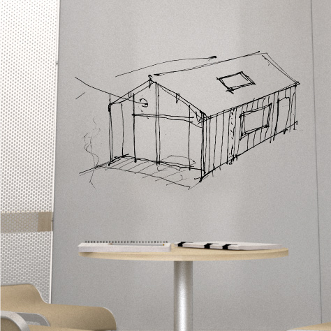 Writeable surface with sketch of a building.