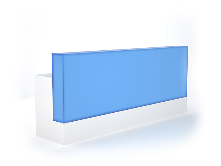 front lightbox reception desk