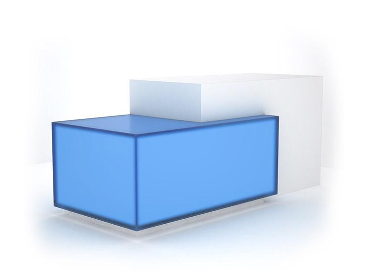 wrapped lightbox reception desk