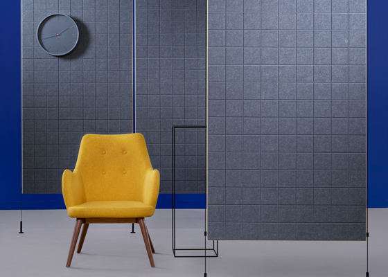 Divy partition product shot in sola felt mineral net pattern with black oxide hardware.